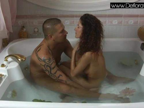Sexy brunette virgin koromislo with thomas stone