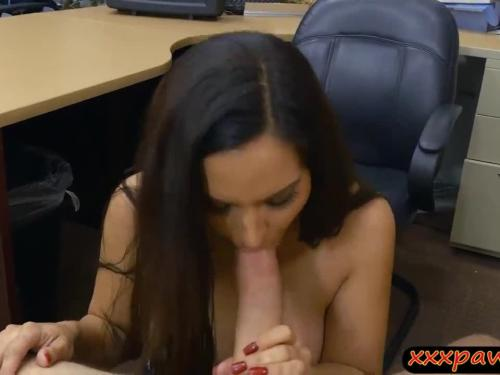 Lady gives a blowjob and fucked by pawn keeper