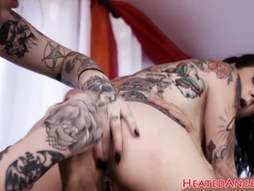 Tattooed babes riding devils hard cock